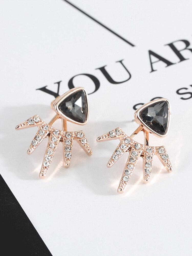 Trendy Black Triángulo Pendientes Full Diamond Pendientes Para Mujer