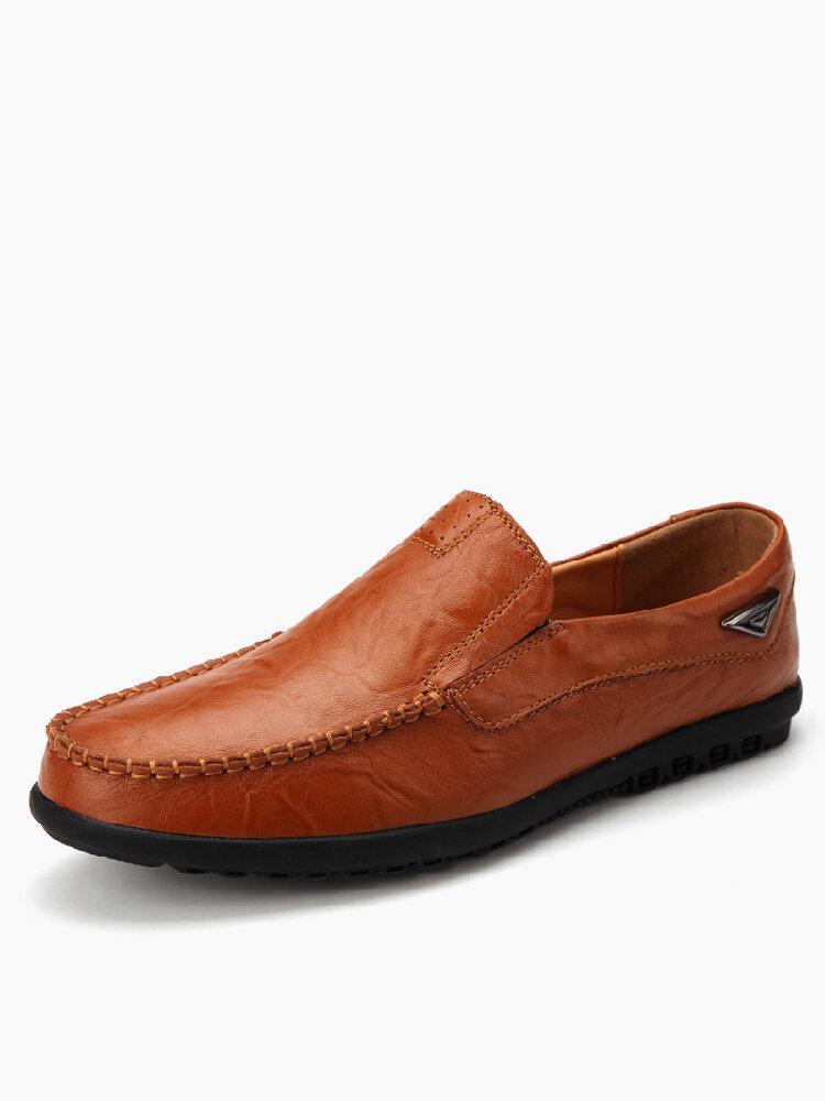 Uomo Microfibra Pelle Antiscivolo Soft Suola Slip On Casaul Driving Shoes