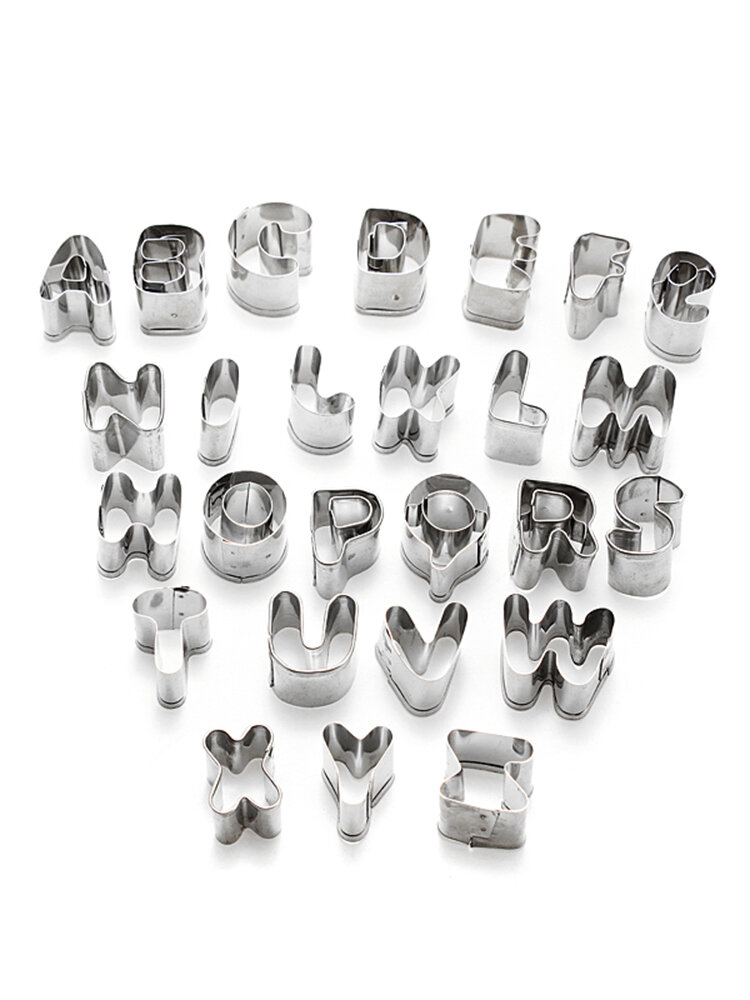 36Pcs Alphabet Letter & Number Stainless Steel Cake Biscuit Moulds Cookie Cutter DIY Baking Tools