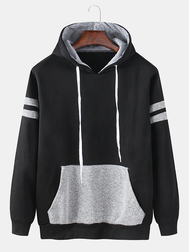 Mens Cotton Patchwork Contrast ColorHoodie With Kangaroo Pocket