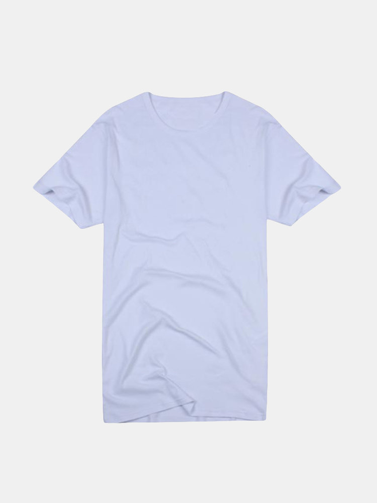 Mens Summer Top Tee Brief Solid Color Casual Round Neck Cotton T-shirt