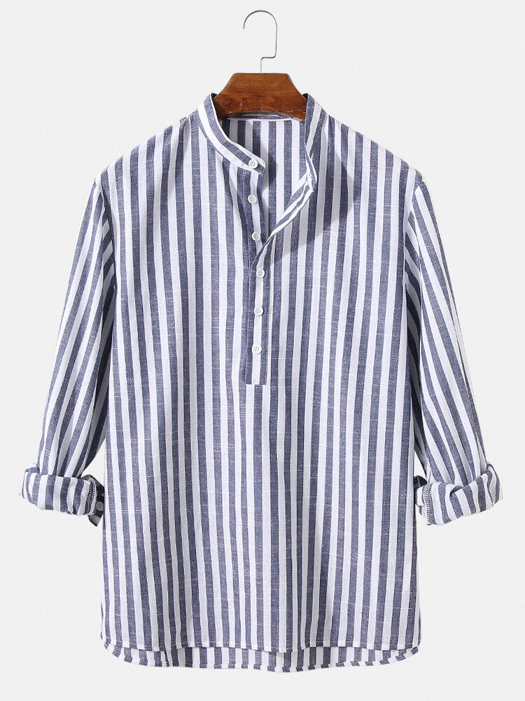 Mens 100% Cotton Basic Striped Casual Long Sleeve Henley Shirts