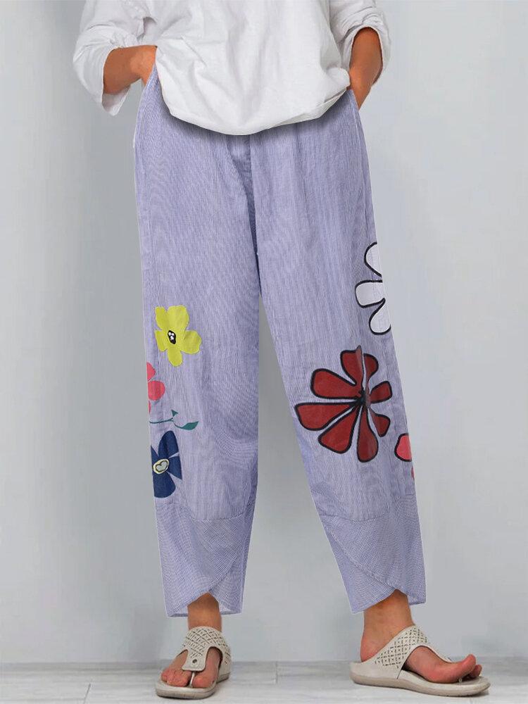 Flowers Print Casual Cross Hem Plus Size Pants with Pockets