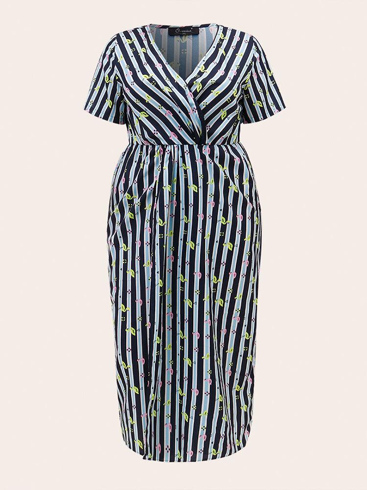 Cranes Striped Print Short Sleeve Casual Plus Size Dresses