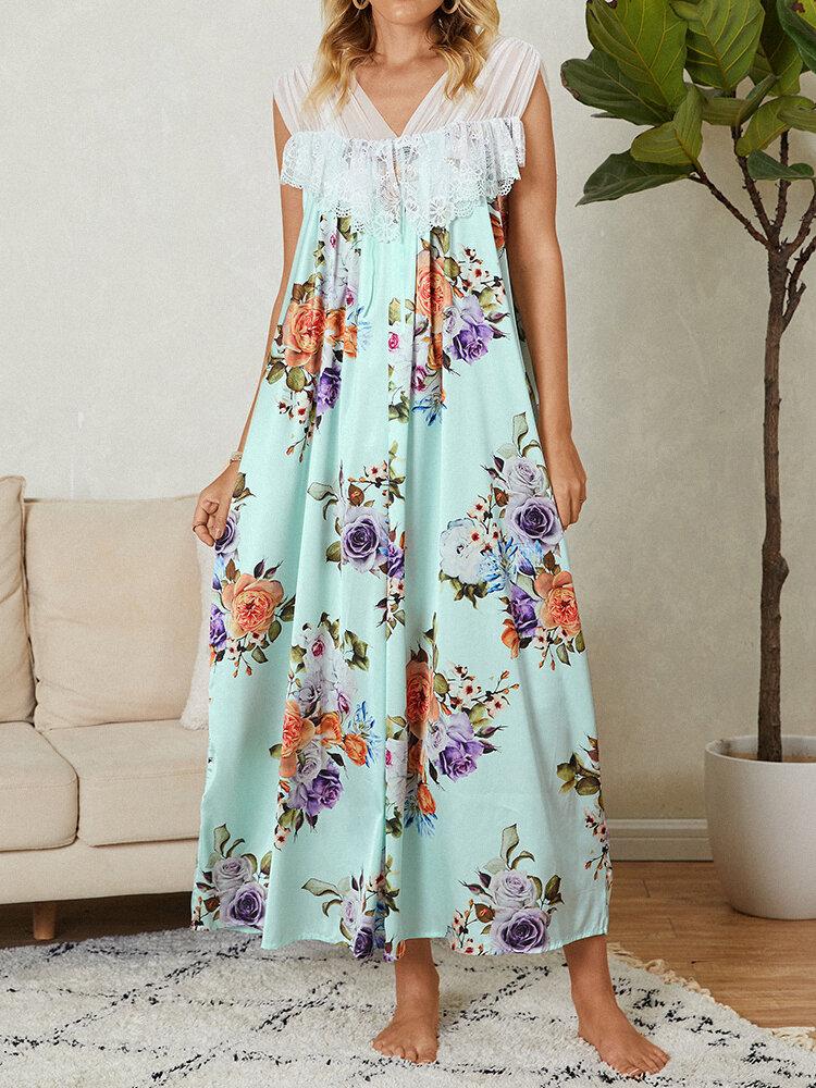 Damen Blumendruck Spitzenbesatz Patchwork V-Ausschnitt Ärmelloses Nachthemd