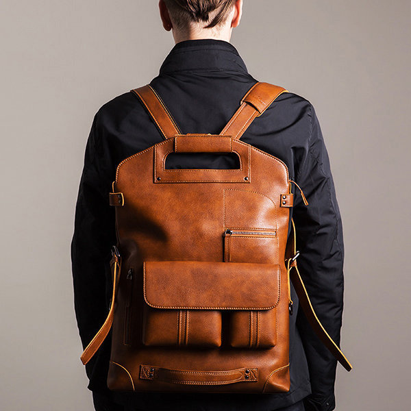 Men Handbag Casual Multifunction Backpack Solid Crossbody Bolsa
