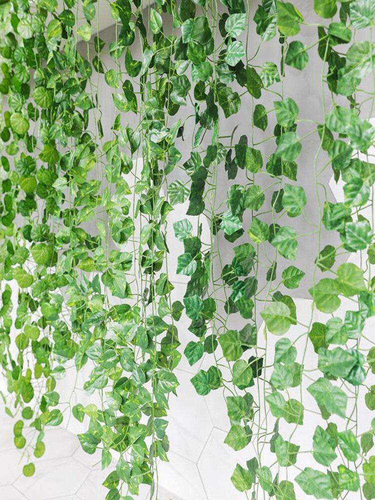 2mシミュレーション植物壁掛けプラスチック偽人工植物緑のつる籐ガーランドガーデンホームウォールホテル結婚披露宴の装飾