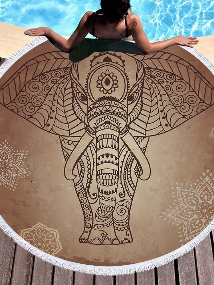 3D Totem Bohemia Mandala Elefante Impresión Playa Toallas Microfibra Forma redonda Manta de picnic