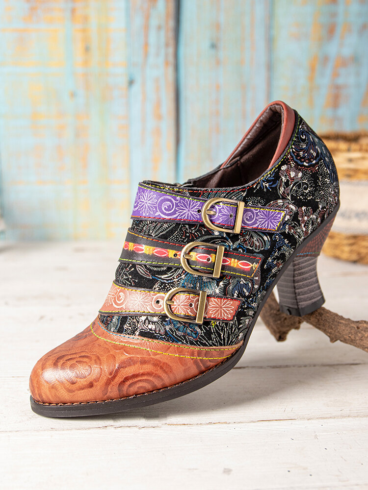 SOCOFY Floral Cloth Splicing Printed Leather Colorful Ankle Metal Strap Side Zipper Comfy Wearable Heels Pumps