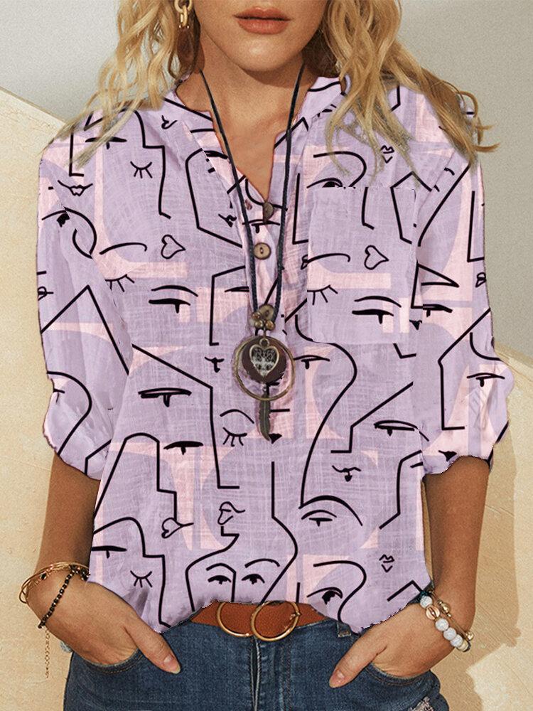 Chemise décontractée à manches longues à imprimé abstrait graffiti pour femme