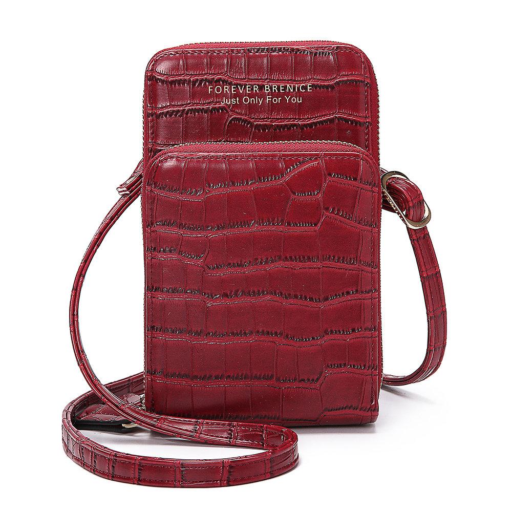Women Crocodile Pattern Card Bag Phone Bag Crossbody Bag