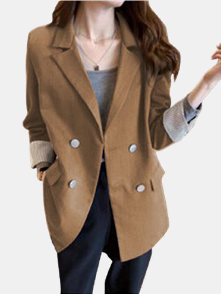 Lässige einfarbige Langarm-Laple Plus Size Button Jackets für Damen