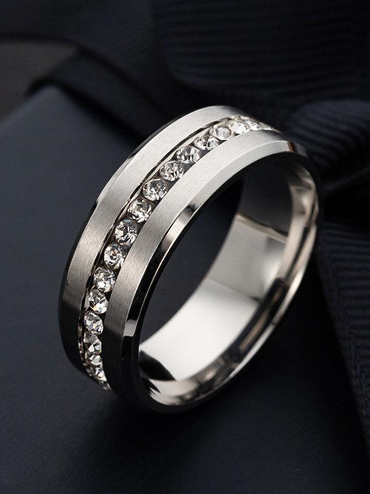 Vintage Solid Inlaid Single Row Rhinestones Stainless Steel Ring