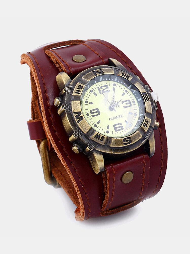 Vintage Genuine Leather Mens Watches Casual Sport Punk Style Quartz Watches for Men