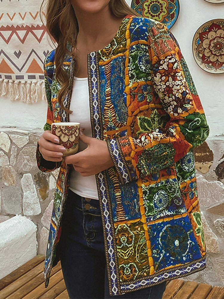 Cotton Ethnic Print Patchwork Ribbon Plus Size Jackets