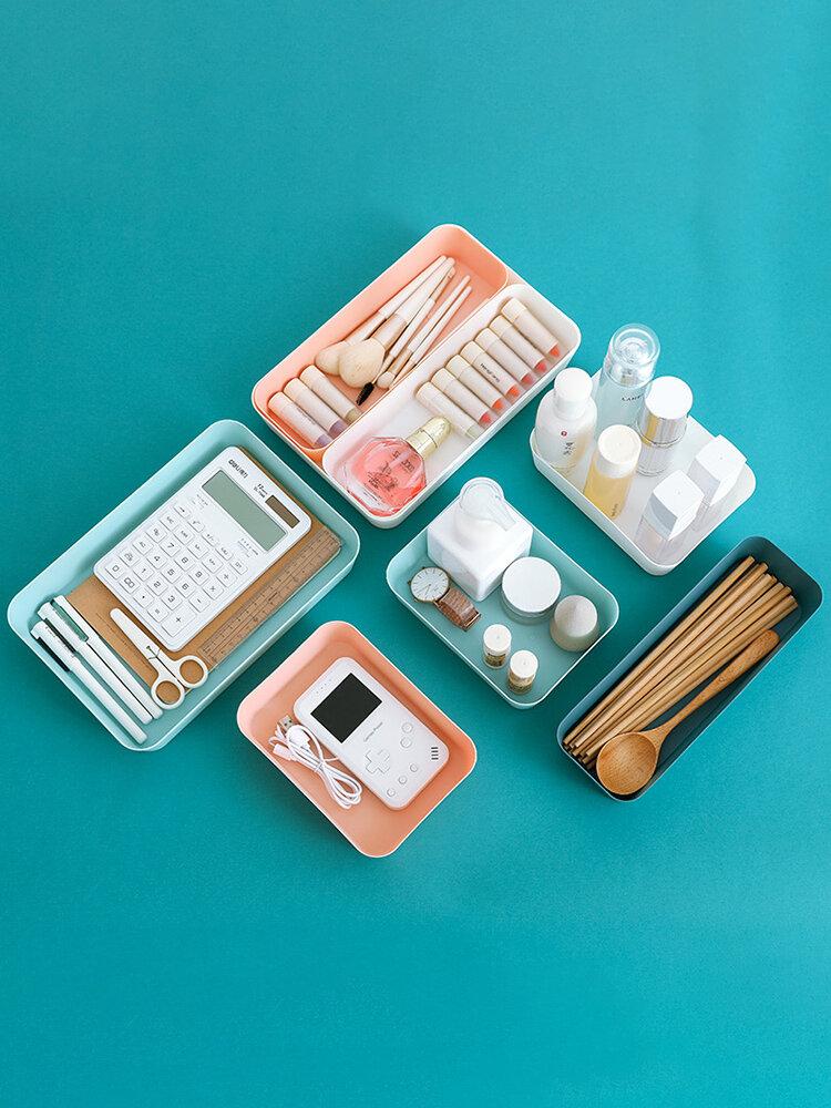 Drawer Divider Storage Box Kitchen Utensils Small Box Rectangular Plastic Desktop Cosmetics Storage