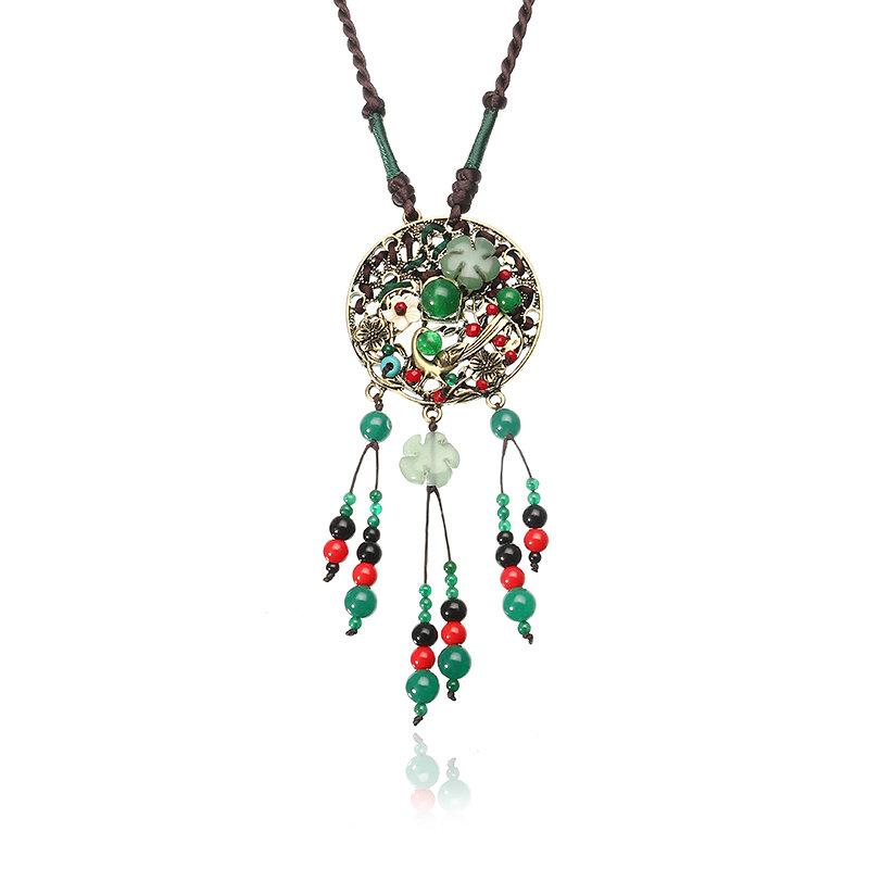 Ethnic Retro Necklace Vintage Rope Jade Necklace