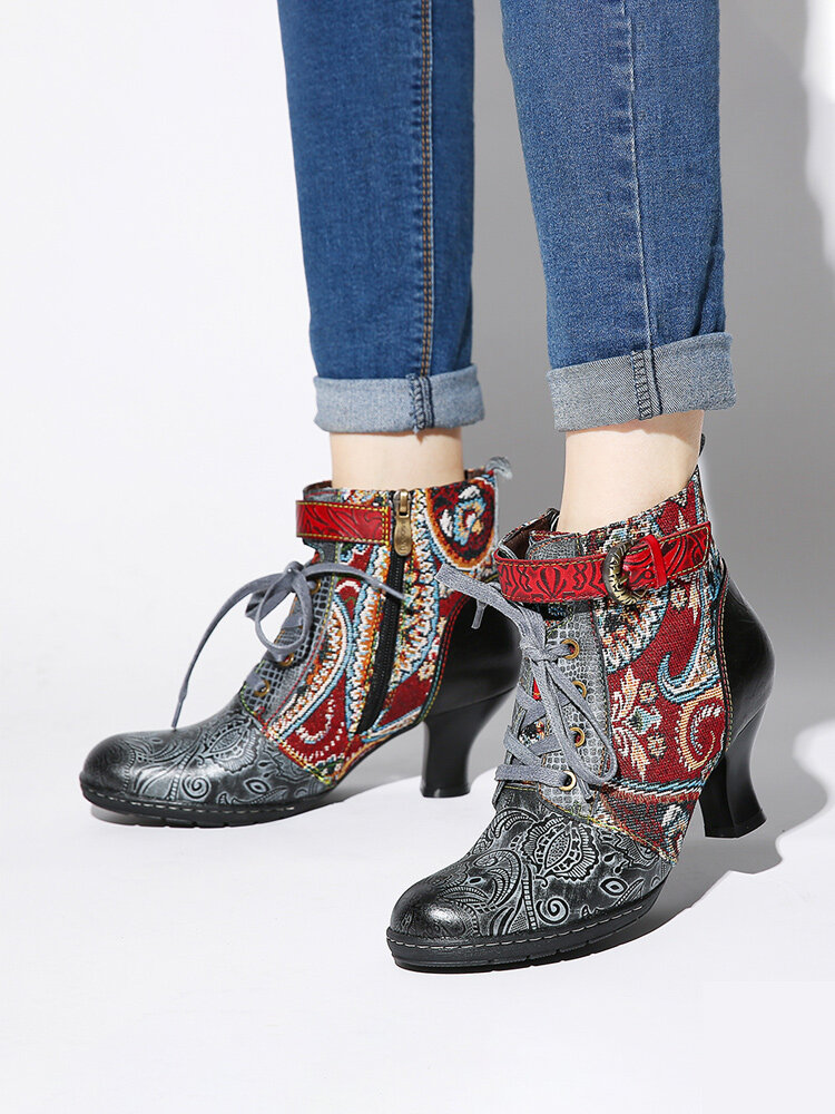 SOCOFY Embossed Genuine Leather Metal Buckle Zipper Lace Up High Heel Ankle Boots