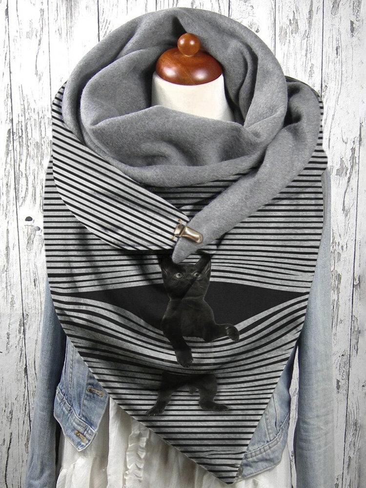 Women Stripe Cute Cat Pattern Soft Adjustable Neck Protection Keep Warm Scarf