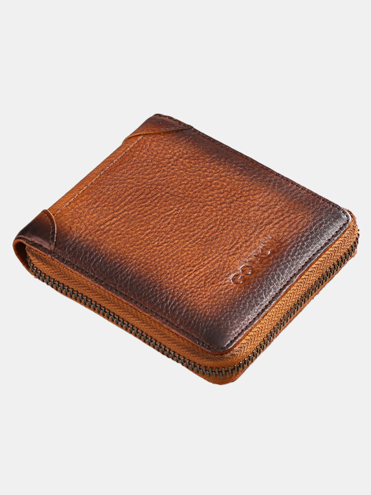 Men Genuine Leather Cow Leather Multi-function CardSlots Short Wallet