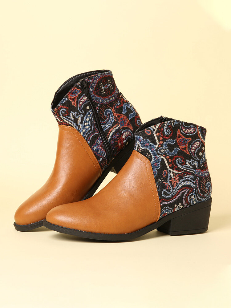 LOSTISY Retro Flower Cloth Stitching Comfy Wearable Side Zipper Block Heel Ankle Boots