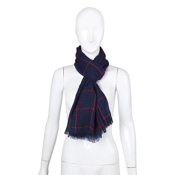 Women Ladies Pure Color Cotton Grid Tassel Scarves Linen Shawl