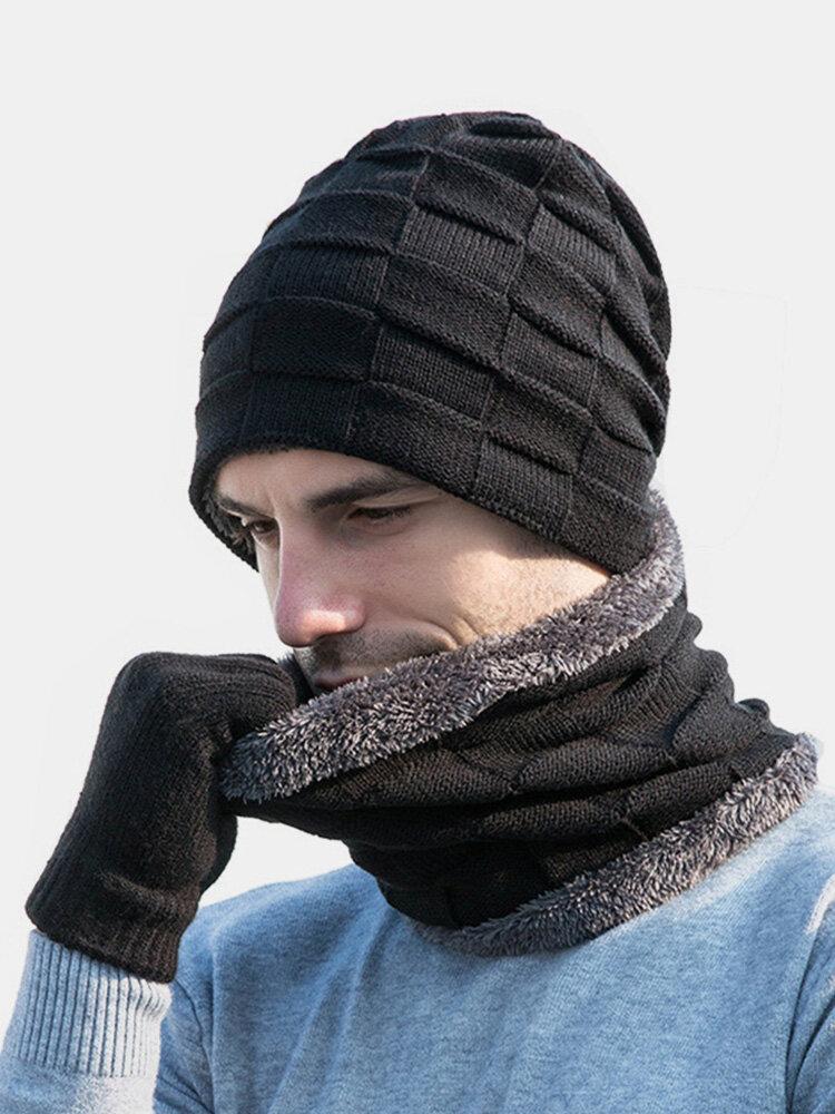 男性2 / 3PCSPlusベルベット暖かく冬の首の保護ヘッドギアスカーフフルフィンガーグローブニット帽ビーニー