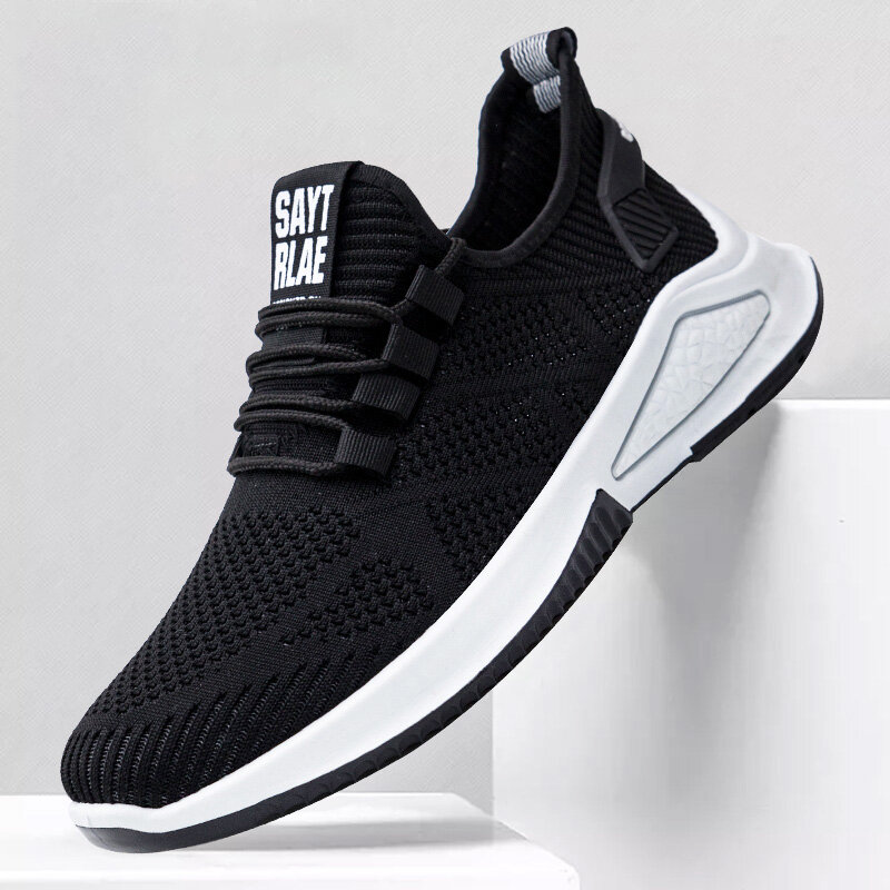 Men Sport Knitted Fabric Breathable Walking Sneakers Casual Shoes