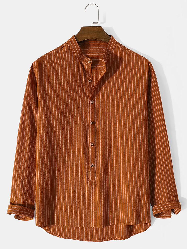 Mens Striped Stand Collar High Low Casual Long Sleeve Henley Shirts