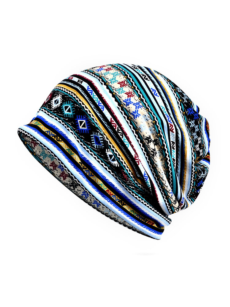 Cotton Geometric Patterns Cap Casual Beanie Hats Outdoor Sun Cap Scarf Dual Use For Woman