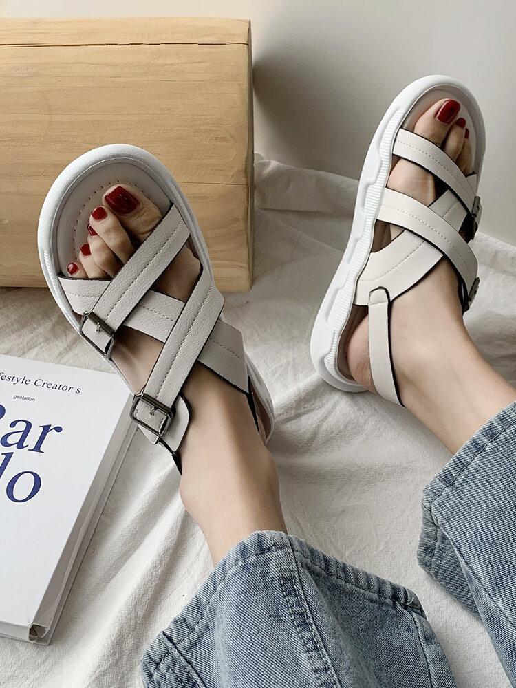 Women Fashion Cross Buckle Straps Flat Opened Toe Sports Casual Sandals