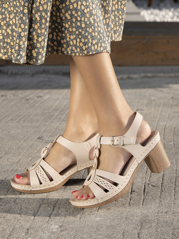 Women Comfy Soft Sole Hollow Stitching Buckle Heels Sandals