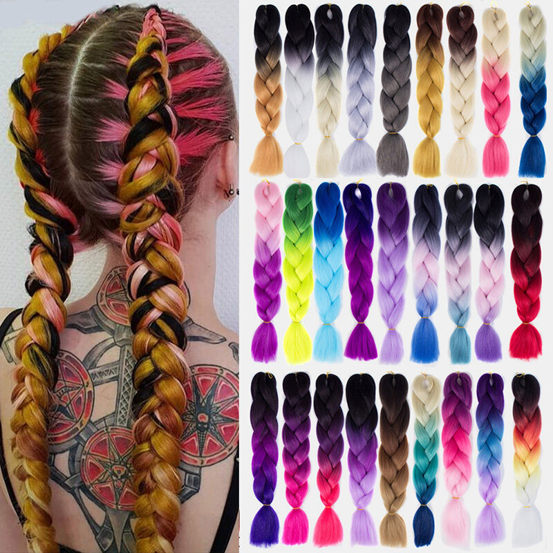 HalloweenColored Gradient Dirty Braids High Temperature Fiber Big Braids Ponytail Hair Extensions