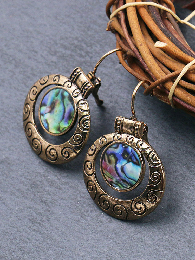 Vintage Carved Spiral Women Earrings Colored Oil Painting Pendant Earrings Jewelry Gift