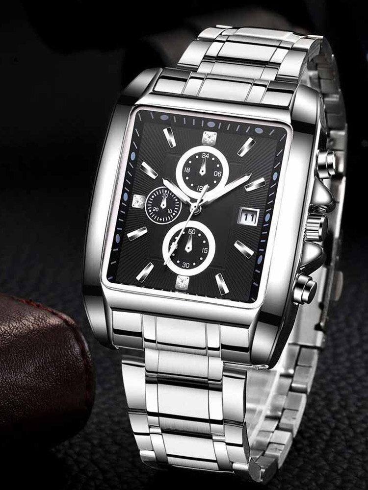 3 Colors Stainless Steel Silicone Men Vintage Watch Luminous Decorated Pointer Calendar Quartz Watch