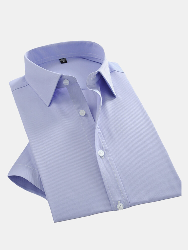 Plus Size Casual Business Slim Fit Solid Color Turn-Down Collar Dress Shirts for Men