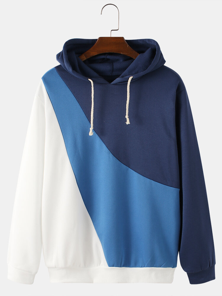 Mens Color Contrast With Irregular Stitching Drawstring Hoodies