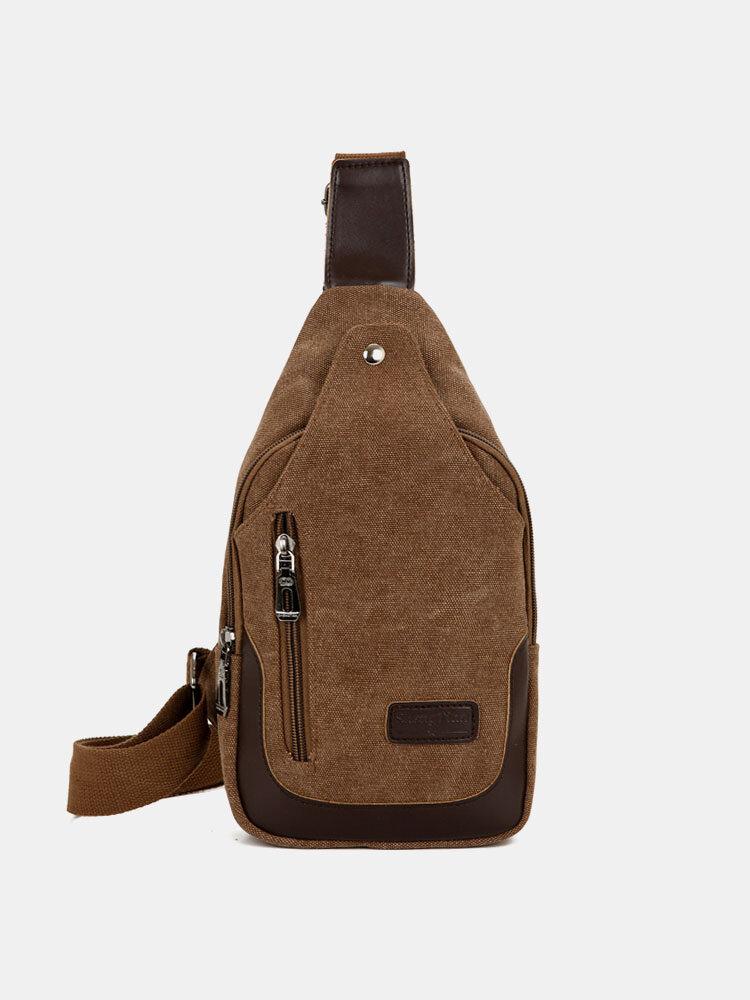 Men Sports Casual Canvas Crossbody Bag Chest Bag