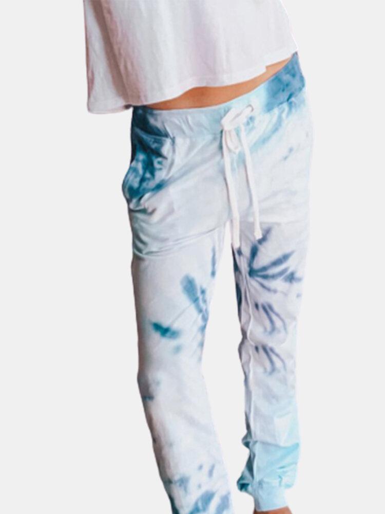 Tie-Dye Elastic Waist Drawstring Casual Pants For Women