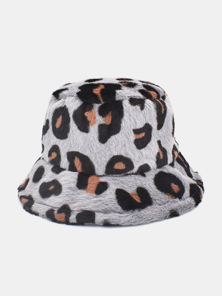 Women & Men Plush Soft Warm Casual All-match Cute Leopard Pattern Bucket Hat