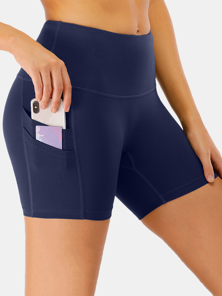 Women Solid Quick-Drying High Waist Yoga Sports Shorts With Side Pocket