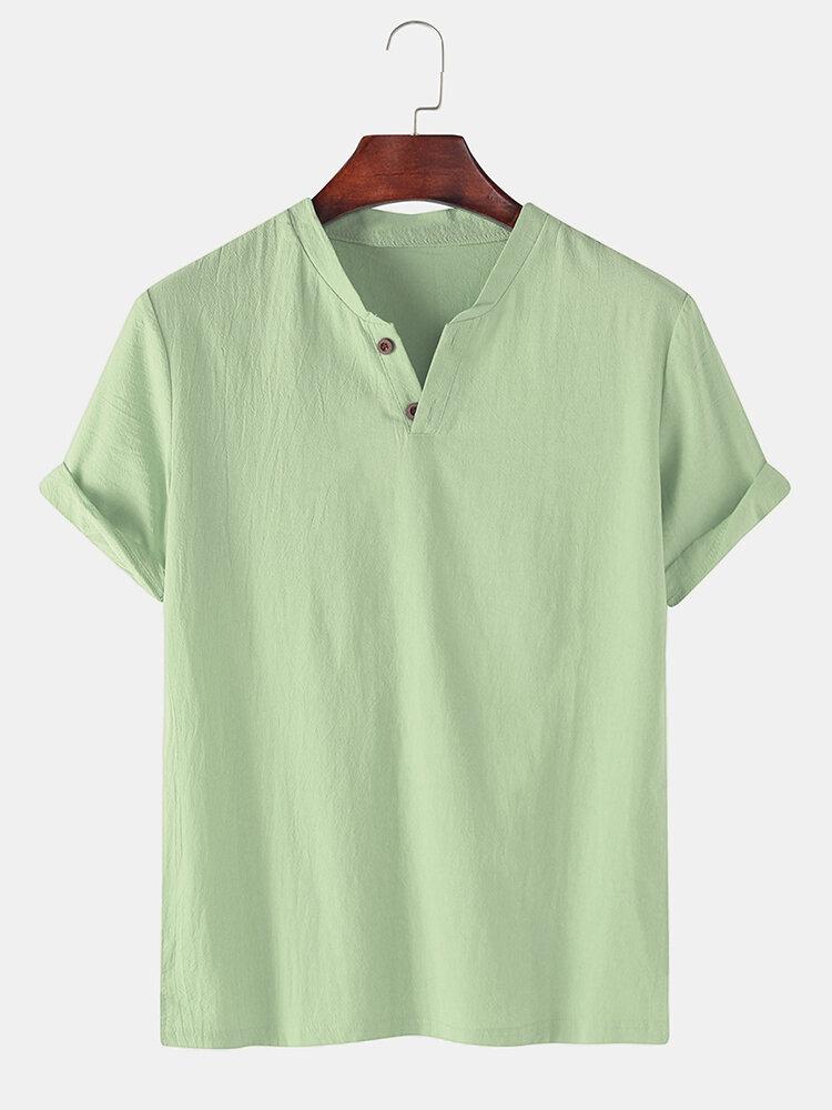 Herren 100% Baumwolle einfarbig lässig T-Shirt mit V-Ausschnitt