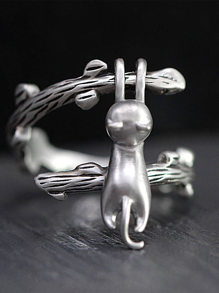 Vintage Silver Plated Animal Women Ring Cute Open Adjustable Cat Climbing Tree Branch Ring