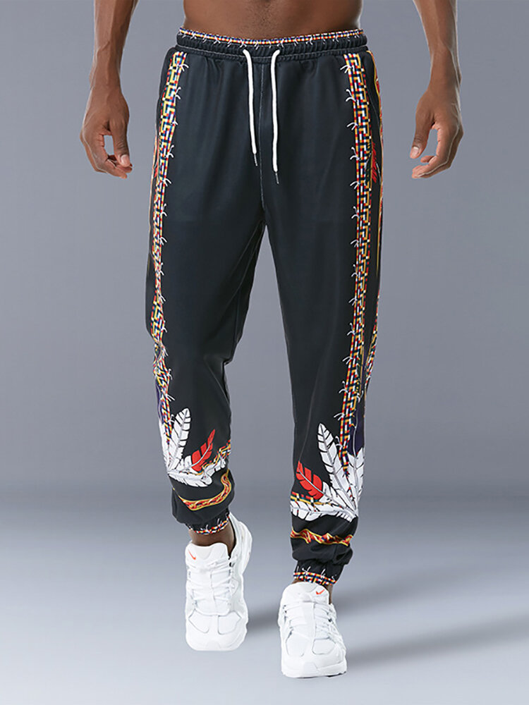 Feather Print Drawstring Waist Trousers For Men