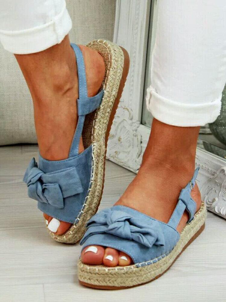 Plus Size Women Butterfly Knot Peep Toe Woven Platform Buckle Sandals