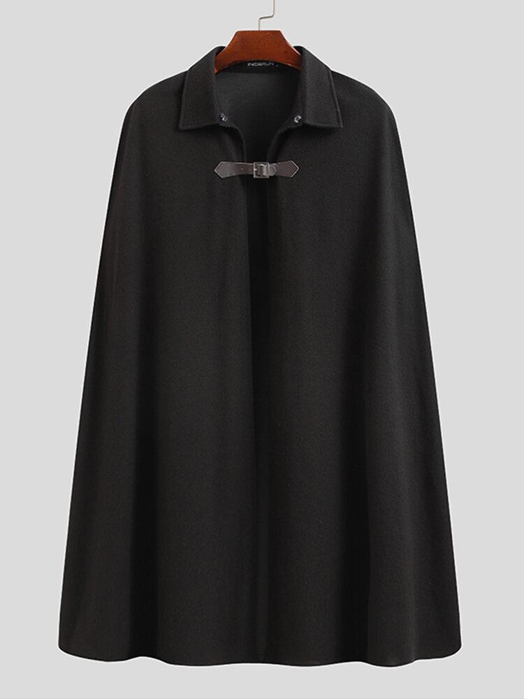 Mens Designer Button Sleeveless Lapel Collar Cape Cardigans