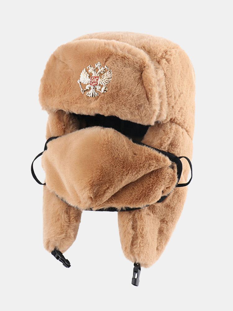 男性と女性の防寒冬用トラッパーハットマスクトラッパーハット付きの厚い冬用ハット耳栓