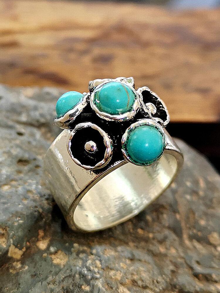 Vintage Turquoise Thai Silver Women Ring Wedding Flower Gem Ring