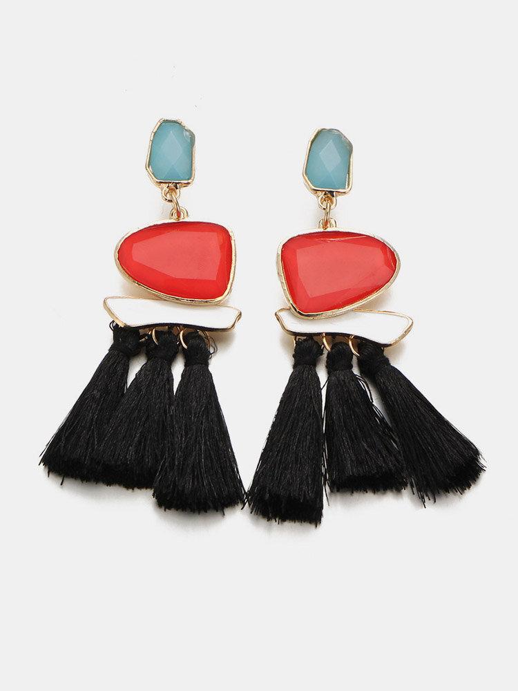 Stylish Women's Geometric Multicolored Cotton Tassels Resin Crystal Earrings Sweater Accessory