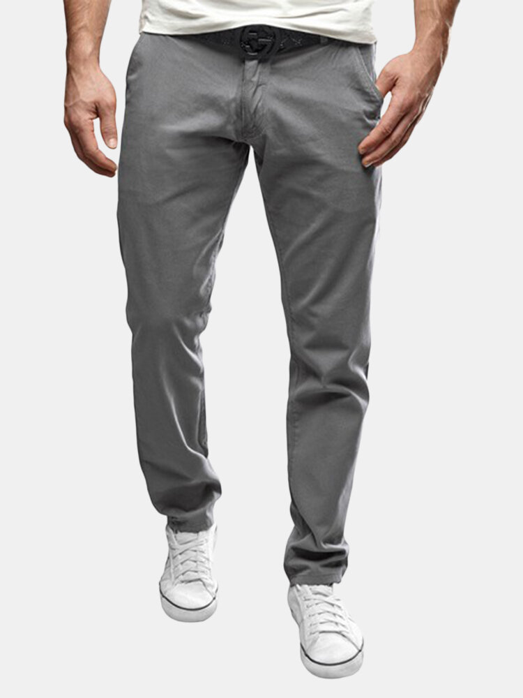 Men's Chinos Slim Straight Casual Pants Skinny Stretch Pencil Trousers
